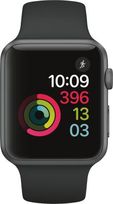 Apple Watch Series 1, 42mm  Alu  schwarzes Armband_0